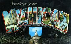Greetings from Michigan - Large Letter Postcard