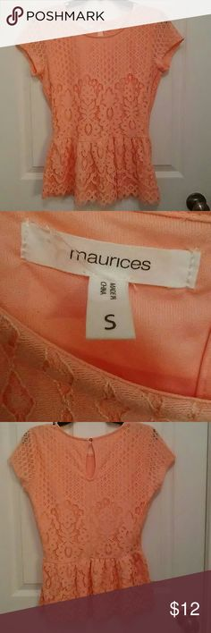 Coral Peplum Top Maurice's coral peplum lace top Sz. Small Maurices Tops