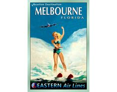 "MELBOURNE Florida - EASTERN Air Lines - Travel Poster - 3 sizes up to 24""x 36"" - New Retro Beach Pin Up Art Print 052"