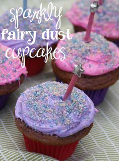 "Sparkly Fairy Dust Cupcakes by Duchess of Fork Brought to you by BlogHer and Disney's ""The Pirate Fairy,"" an All-New Tinker Bell Movie on Blu-ray and Digital HD Now ~Erin"
