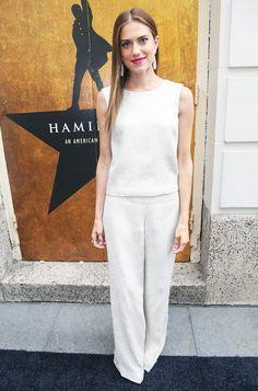 Allison Williams looks sleek in an ivory jumpsuit.