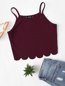 Shop & Buy Summer Red Tank Crop Top Vest Woman Vacation Casual Scallop Hem Crop Spaghetti Strap Slim Cami Top Online from Aalamey Crop Top Outfits, Mode Outfits, Cute Casual Outfits, Fashion Outfits, Ootd Fashion, Cami Tops, Cami Crop Top, Dress Tops, Cropped Tops
