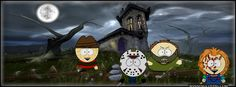 rare south park kids cartman, kenny, Eric, Butters  facebook timeline cover for Halloween October