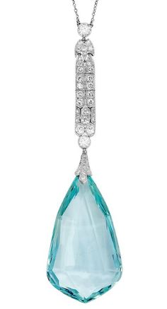 A Belle Époque Aquamarine, Diamond and Platinum Necklace, circa 1910  The millegrained design suspending an aquamarine briolette drop weighing approximately 85.00 carats, from an articulated elongated plaque set with old European-cut diamonds, joined to a fine trace linking necklet, mounted in platinum, length 16 ins