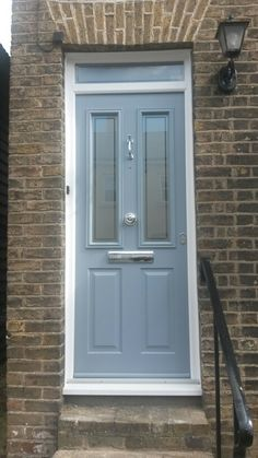 My French Grey Solidor Victorian Front Doors, Grey Front Doors, Front Door Porch, Porch Doors, Front Doors With Windows, House Front Door, Front Door Colors, House Entrance, Entrance Doors