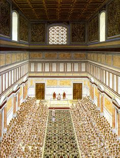 Curia Julia during a Senate meeting - artist's reconstruction. The senate building was constructed by Julius Caesar in 44 BCE, to replace the Curia Cornelia