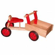 Playwood bakfiets rood. Met smalle wielen.