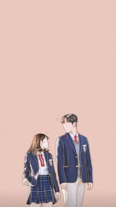 Cute Couple Drawings, Cute Couple Art, Cute Drawings, Park Bogum, K Drama, Wattpad Book Covers, Cute Couple Wallpaper, K Wallpaper, Cute Love Cartoons