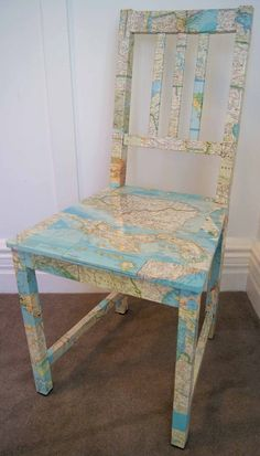 May need to do this to my infamous ugly chair!  decoupage chair w/map, dictionary or magazine pages, etc. LOVE THIS