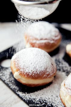 Doughnuts with custard pudding.