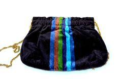 Vintage Navy Velvet Tapestry Purse With Gold Chain Strap Hinged Top Made In Italy Color Stripes