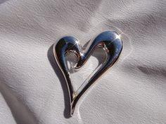 MONET Heart BROOCH Silver tone Modernist by treasures4youreyes
