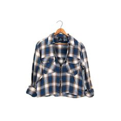 Cropped Plaid Shirt Jacket Vintage 90s Cotton Flannel Shirt Zip Up... ($34) via Polyvore featuring tops, cropped shirts, flannel shirt, vintage shirts, plaid flannel shirt and plaid shirt jacket