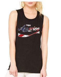Women's Flowy Muscle Enjoy America 4th Of July USA Top  #tanktop #womensfashion #american #ustrendy #usa
