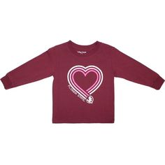 Toddler Long Sleeve T-shirt with Heart Florida State Seminole Head Garnet