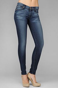 7 For All Mankind, THE SKINNY in Riche Medium Blue, cashmere feel amazing!!!