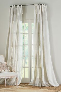Elysée Inverted Pleat Linen Panel from Soft Surroundings Drapes And Blinds, Drapes Curtains, Curtains Living, Discount Home Decor, Home Decor Outlet, Linen Bedroom, Bed Linen, Linen Bedding, Sofa Table Decor