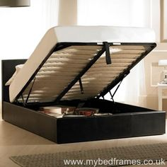 Madrid #ottoman #bed in black faux leather