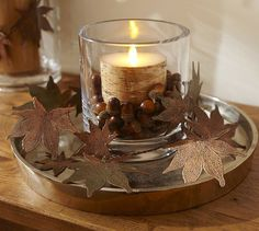 Patina Metal Leaves Vase Filler | Pottery Barn. Could make some leaves from polymer clay.