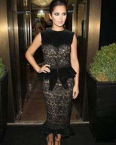 17af0677a182e Cheryl Cole opted for a double peplum dress as she attended the Fashion's  Night Out even at the Giuseppe Zanotti Design store on London's Sloane  Street
