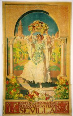 Sevilla / Seville, Spain.  Vintage travel poster.