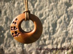 Oval Wood NecklaceExotic Wood Necklace Hippie by NikibarsNatureArt