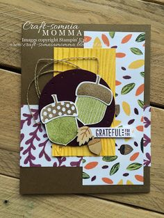 Stampin' Up! Acorny Thank You and Acorn Builder Punch - Craft-somnia Momma: Grateful Acorns ~ Monday Montage