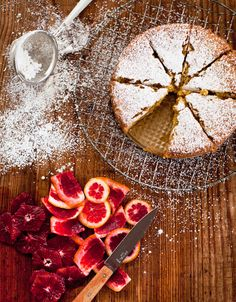 Almond cardamom cake with blood oranges