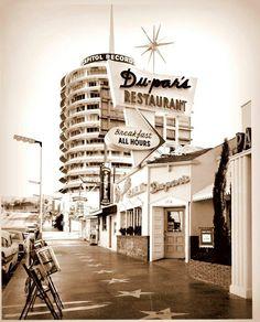 Hollywood Walk of Fame. Vine Street, Capital Records, Dupar's Restaurant in Los Angeles. 1960s.