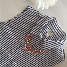 J-Crew Sleeveless Striped Hab Shirt Cotton/elastane, hidden front placket, online exclusive and it's SOLD OUT. :) J. Crew Tops