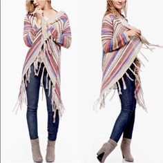 XX BRENNA striped tassel cardigan - VIBRANT *** Multi Stripe Print Cardigan *** Long sleeve open front knit cardigan with fringe trim. 65%COTTON, 35 % POLYESTER NO TRADE, PRICE FIRM Sweaters Cardigans