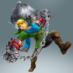 Hyrule Warriors: Skyward Sword update (July 2014) - Link new official art with silver gauntlets + ball and chain weapon! #Zelda #HyruleWarriors #WiiU