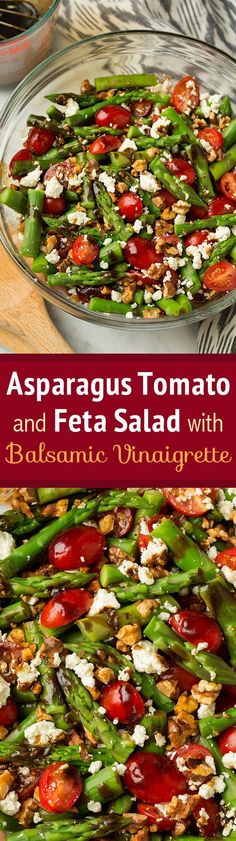 Asparagus, Tomato and Feta Salad with Balsamic Vinaigrette – Best spring salad! Absolutely loved this as did everyone else! Asparagus, Tomato and Feta Salad with Balsamic Vinaigrette – Best spring salad! Absolutely loved this as did everyone else! Vegetarian Recipes, Cooking Recipes, Healthy Recipes, Best Salad Recipes, Grape Tomato Recipes Salad, Strawberry Salad Recipes, Veggie Salads Recipes, Dinner Salad Recipes, Chopped Salad Recipes