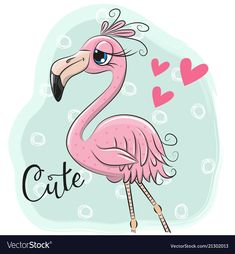 Cartoon flamingo on a blue background. Cute Cartoon flamingo on a blue background stock illustration Flamingo Painting, Flamingo Art, Baby Animal Drawings, Cute Drawings, Cartoon Mignon, Photographer Business Cards, Cute Kawaii Animals, Belly Painting, Pink Bird