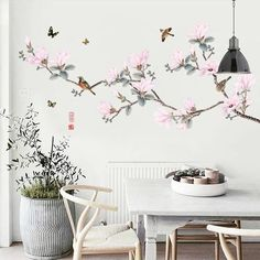 Chinoiserie Branches & Birds Wall Decals – The Treasure Thrift Asian Wall Decals, Flower Wall Decals, Wall Painting Decor, Wall Decor, Chinoiserie, Removable Wall Decals, Wall Vinyl, Wall Accessories, Room Wallpaper
