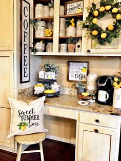 Trending Summer Home Decor & More My love of lemons has taken over this little work area along with my Rae Dunn collection. Lemons are kind of a thing right now for summer decor, especially for the farmhouse style, in case you didn't know! Lemon Kitchen Decor, Kitchen Themes, Farmhouse Kitchen Decor, New Kitchen, Yellow Kitchen Decor, Kitchen Desks, Modern Farmhouse, Kitchen Island, Coffee Bar Home