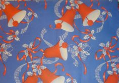 Vintage 1940's Christmas Wrapping Paper, Patriotic Bells, WWII Era | eBay