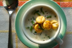 New England Clam Chowder with Old Bay Oyster Crackers  Can't wait to try this! :)
