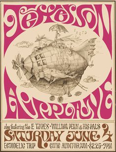 Concert poster: Jefferson Airplane appearing 4 June 1966 at the Exposition Auditorium, Civic Center, San Francisco. Illustration Photo, Illustrations, Rock Posters, Band Posters, Music Posters, Vintage Concert Posters, Vintage Posters, Rock And Roll, Rock Album Covers