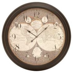 """Featuring a vintaged map of the world, this antique-chic wall clock brings artful appeal to your home library or office.  Product: Wall clockConstruction Material: IronColor: Brown frameAccommodates: Batteries - not includedDimensions: 37"""" Diameter x 4"""" D"""