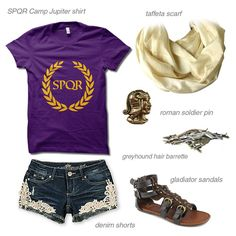 """A """"Heroes of Olympus / Percy Jackson"""" Reyna-inspired Camp Jupiter ensemble. Click through to see where you can find all of these items! I prefer camp half-blood though Percy Jackson Merchandise, Percy Jackson Fandom, Magnus Chase, Rick Riordan, Percy Jackson Outfits, Percy Jackson Costume, Camp Jupiter, Tio Rick, Themed Outfits"""
