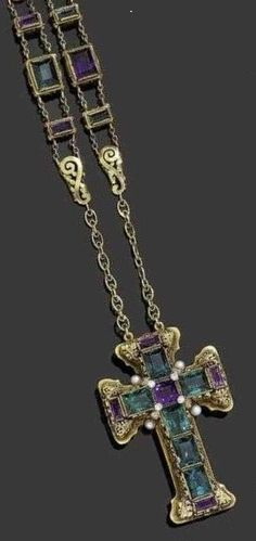 AMETHYST, TOURMALINE, PEARL AND DIAMOND CROSS WITH CHAIN, ca. 1880.