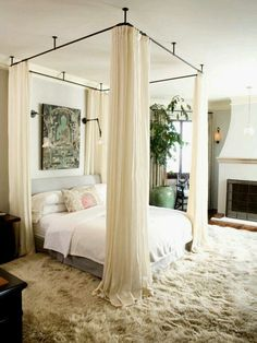 Canopy designs for beds hang your canopy from the ceiling home decor in bedroom decor romantic master bedroom and home bedroom canopy bed ideas with lights Cozy Bedroom, Dream Bedroom, Bedroom Romantic, Bedroom Curtains, Trendy Bedroom, Dark Curtains, Modern Bedroom, Contemporary Bedroom, Bedroom Bed