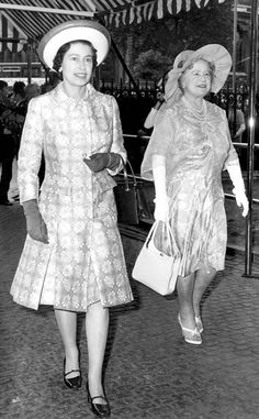 1972 from Queen Elizabeth II's Royal Style Through the Years  Queen Elizabeth and The Queen Mother arrived at Westminster Abbey for a wedding in printed ensembles and cocktail hats.