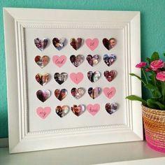 Tolles Geschenk für Freunde oder deinem Liebsten. Fotos in Herzform ausschneiden und in einen schönen Rahmen kleben. Viel Spass.