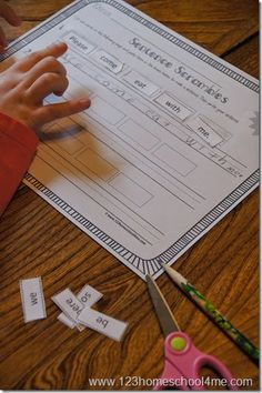 Free printable - Cut and Paste practice making sentences for Kindergarten, 1st, and 2nd grade kids