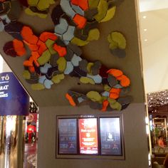 The felted feature located just outside the Baci cafe is not just decorative but   has also been used for its acoustic properties.