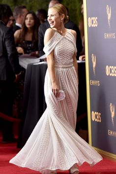 The Top 10 Best Dressed from the 2017 Emmys Red Carpet - Halston Sage in Zac Posen from InStyle.com