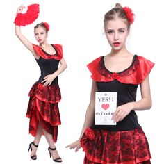 Spanish Mexican Flamenco Senorita Dancer Can Can Saloon Fancy Dress Costume
