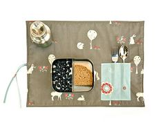 Grey placemat for child. Kids mat in organic cotton. Holiday gift for children and babies. Waldorf gift.
